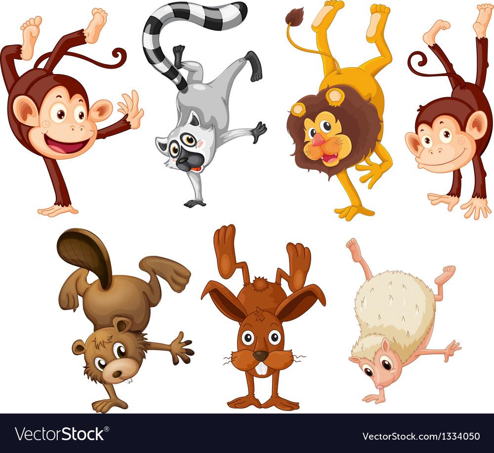 Different animals doing handstands vector | Price: 1 Credit (USD $1)