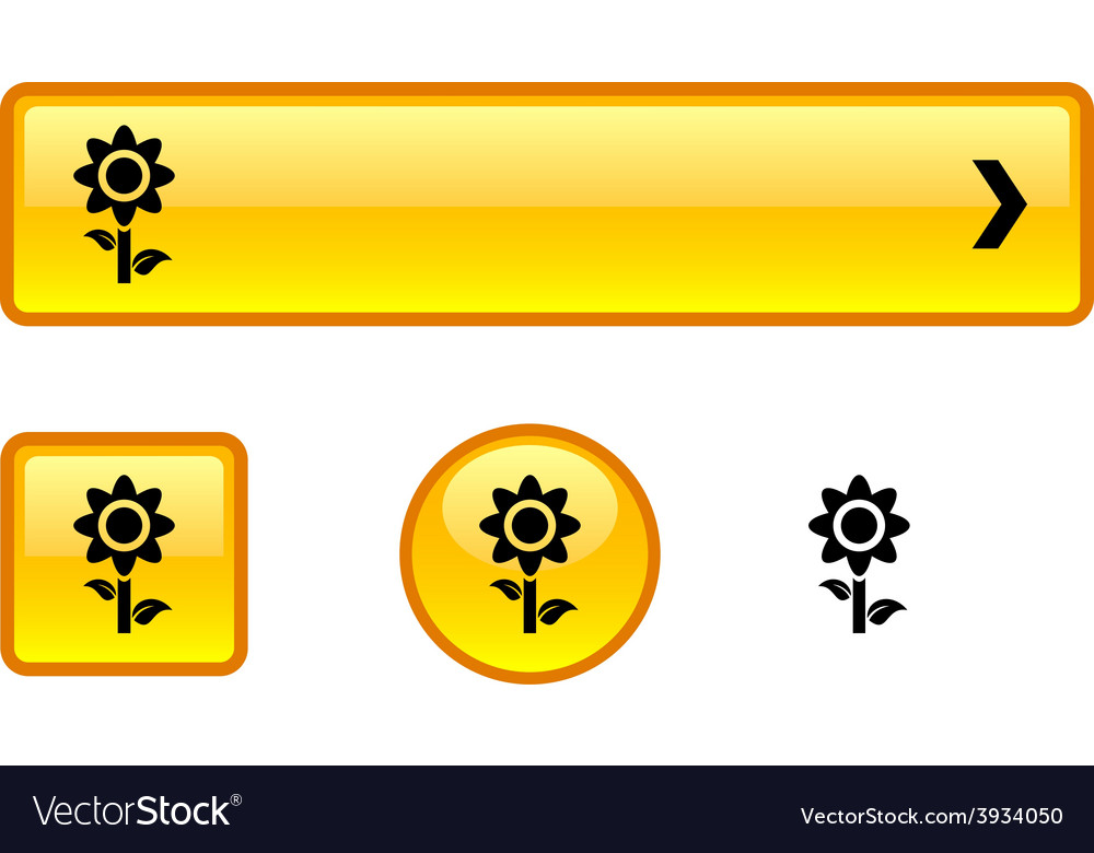 Flower button set vector | Price: 1 Credit (USD $1)