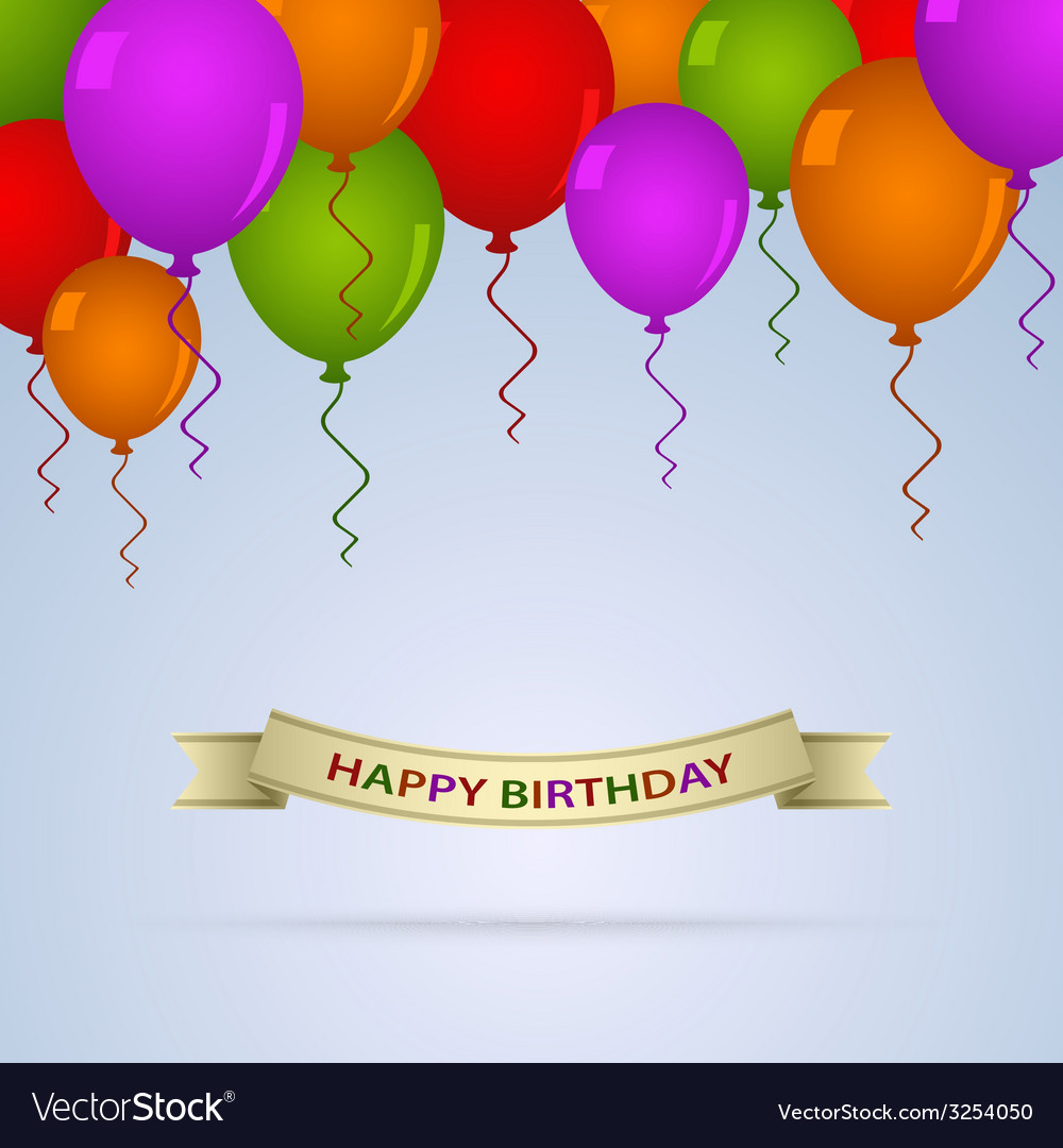 Happy birthday card with ballons and ribbon vector | Price: 1 Credit (USD $1)