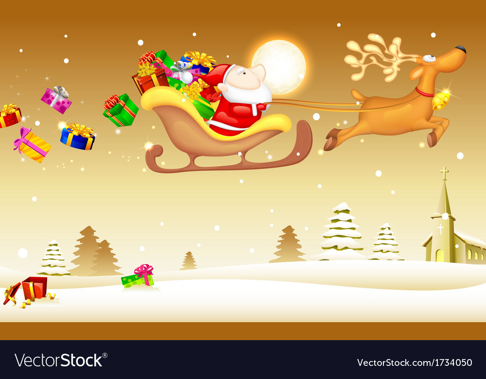 Santa claus with christmas gift in sledge vector | Price: 1 Credit (USD $1)