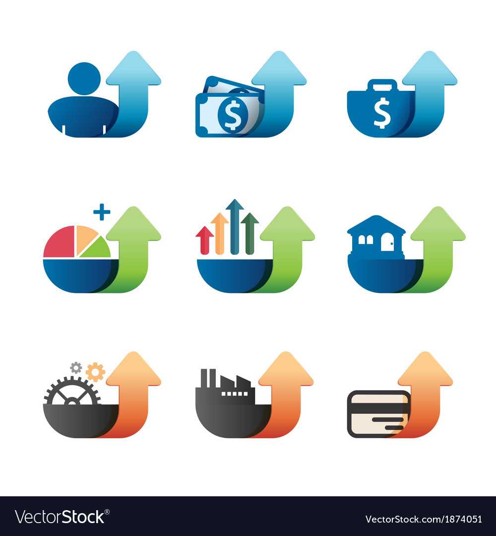 Arrow graph chart business concept icons set vector | Price: 1 Credit (USD $1)