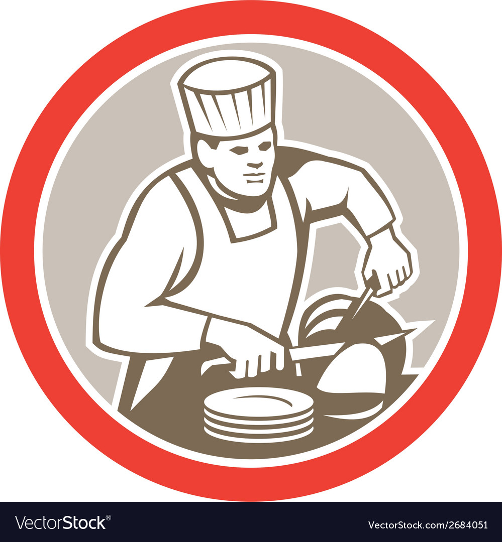 Chef cook slicing meat circle retro vector | Price: 1 Credit (USD $1)