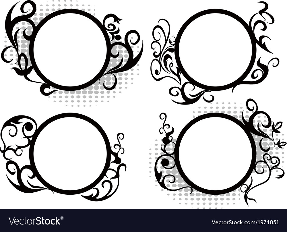Circle floral frame decoration vector | Price: 1 Credit (USD $1)