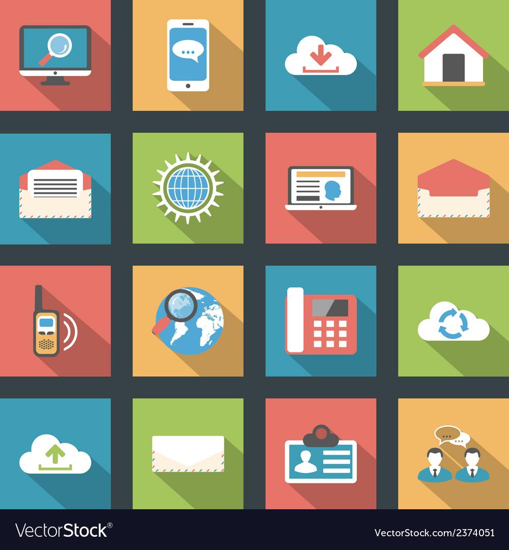 Communication icons set flat design vector | Price: 1 Credit (USD $1)
