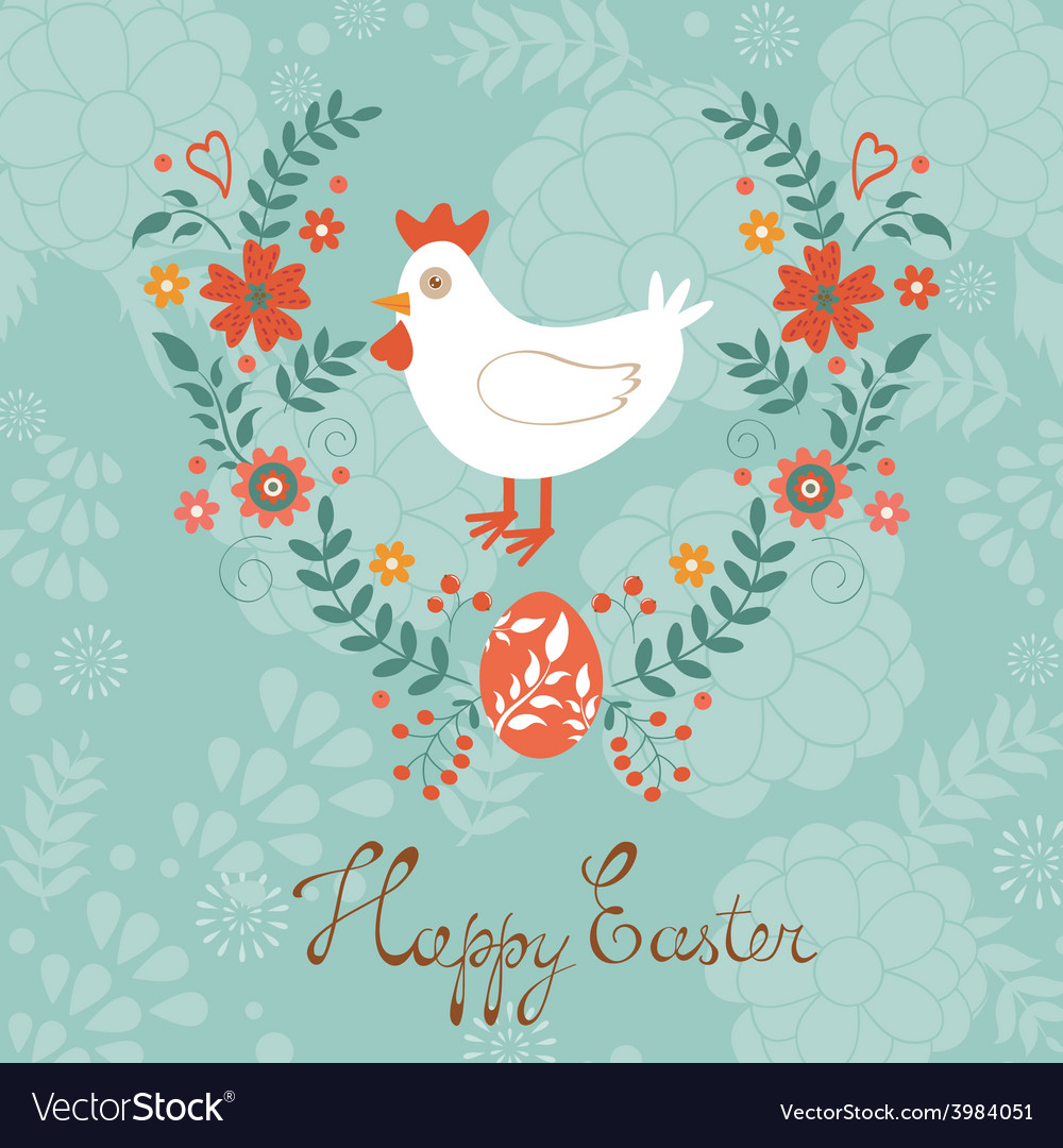Cute easter card with chicken in floral wreath vector | Price: 1 Credit (USD $1)