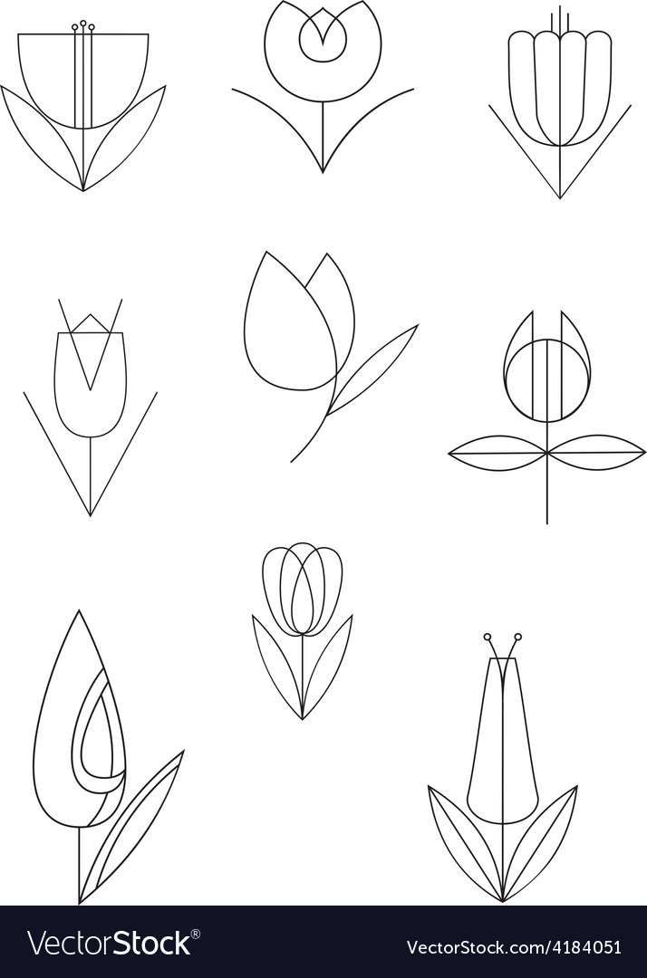 Line flower decor set vector | Price: 1 Credit (USD $1)