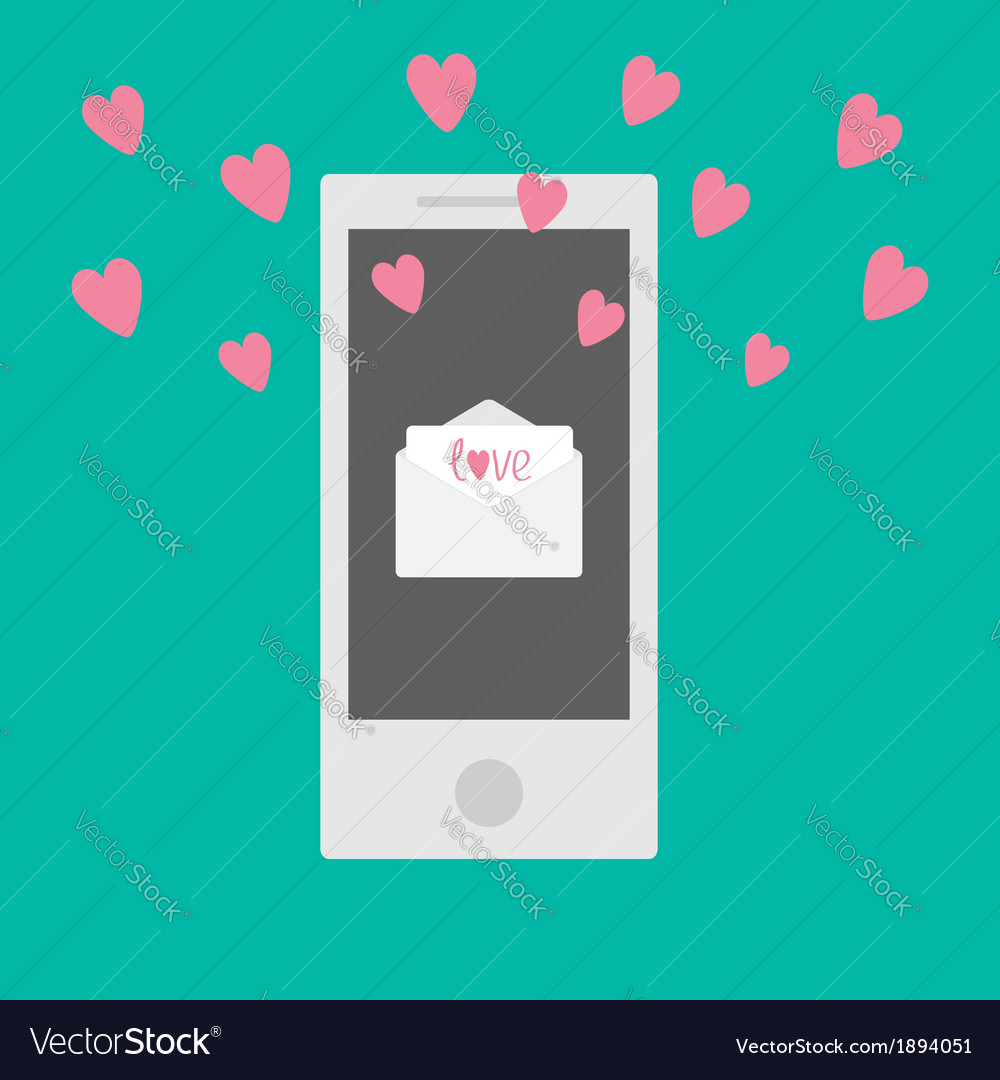 Phone with mail letter envelope and hearts vector | Price: 1 Credit (USD $1)
