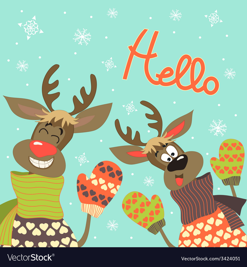 Reindeers say hello vector | Price: 1 Credit (USD $1)