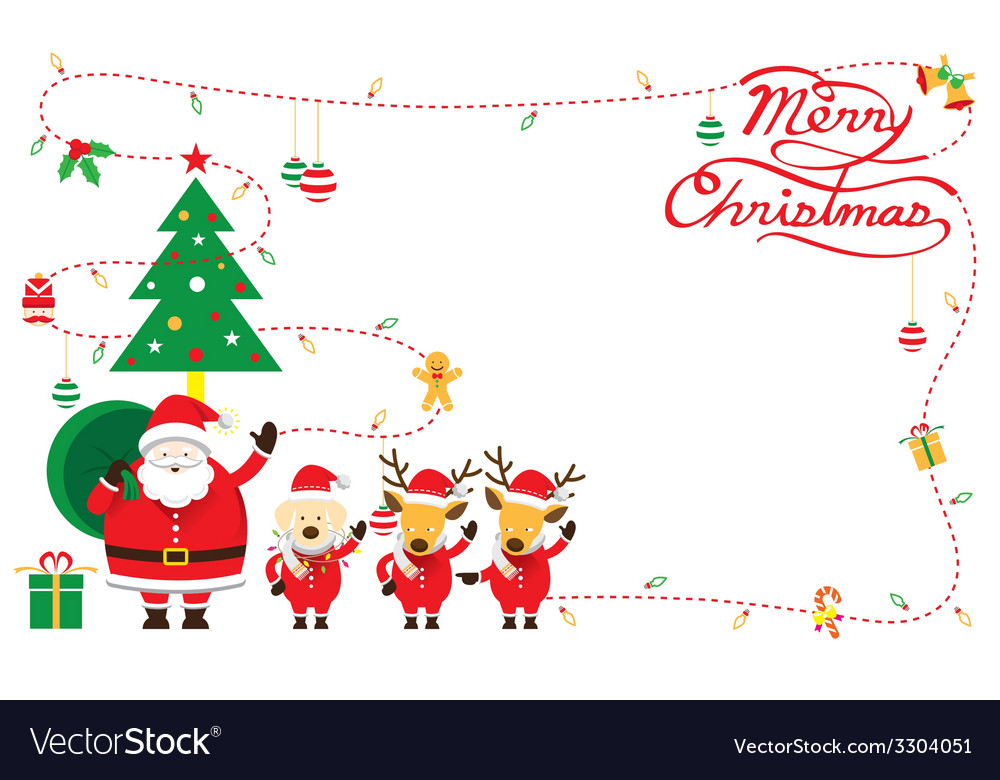 Santa with dog and reindeer border vector   Price: 1 Credit (USD $1)