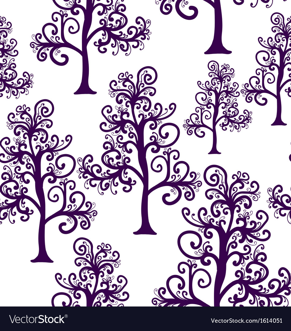 Seamless pattern of imaginative trees vector | Price: 1 Credit (USD $1)