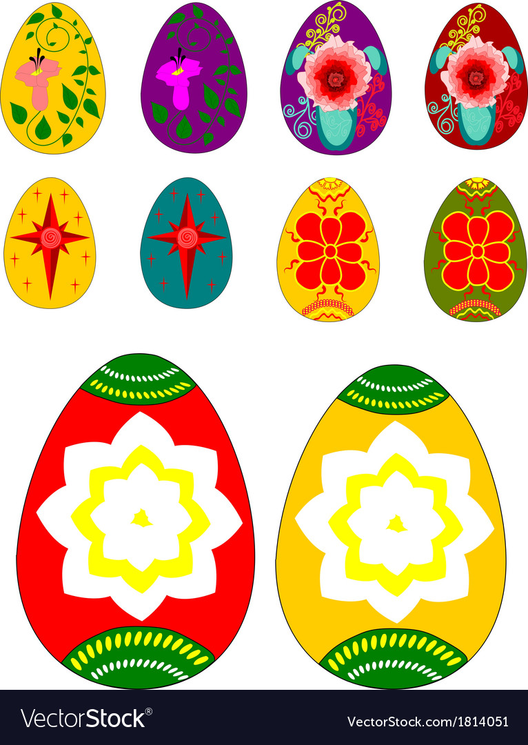 Set of easter eggs with ornamental painting vector | Price: 1 Credit (USD $1)