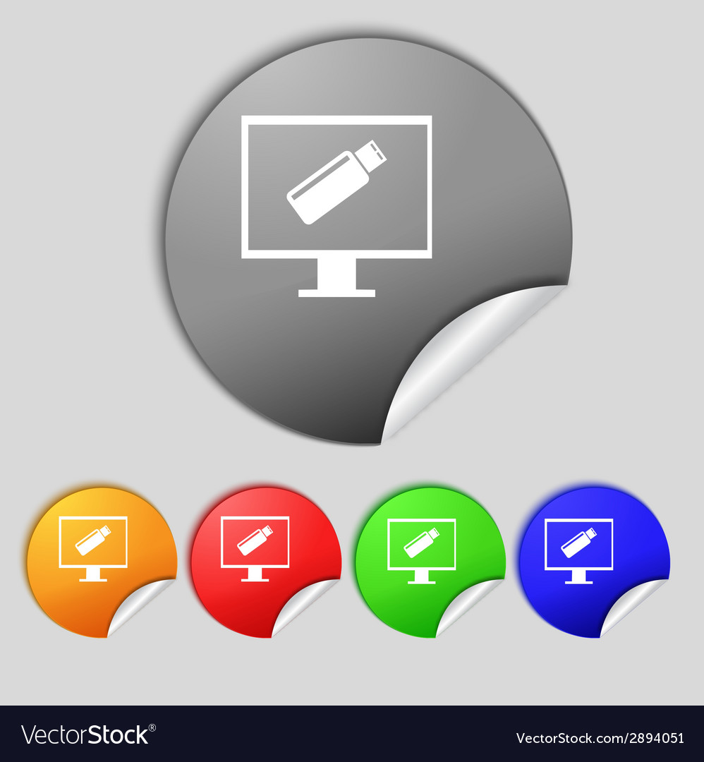Usb flash drive and monitor sign icon video game vector | Price: 1 Credit (USD $1)