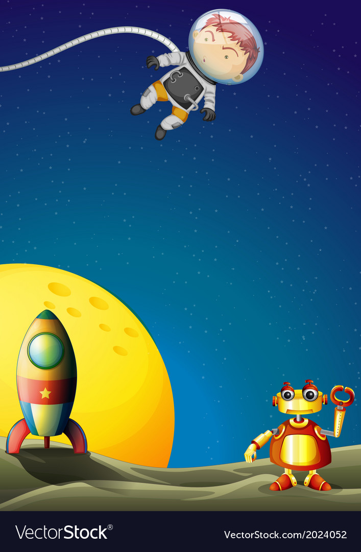 An astronaut and a robot in the outerspace vector | Price: 3 Credit (USD $3)