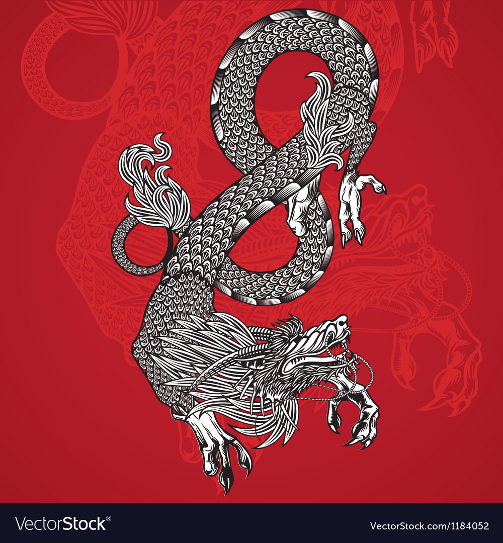 Ancient chinese dragon and red background vector | Price: 1 Credit (USD $1)
