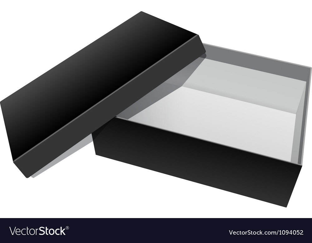 Black blank cardboard package box opened vector | Price: 1 Credit (USD $1)