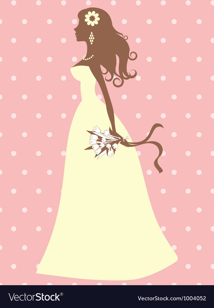 Elegant bride silhouette vector | Price: 1 Credit (USD $1)