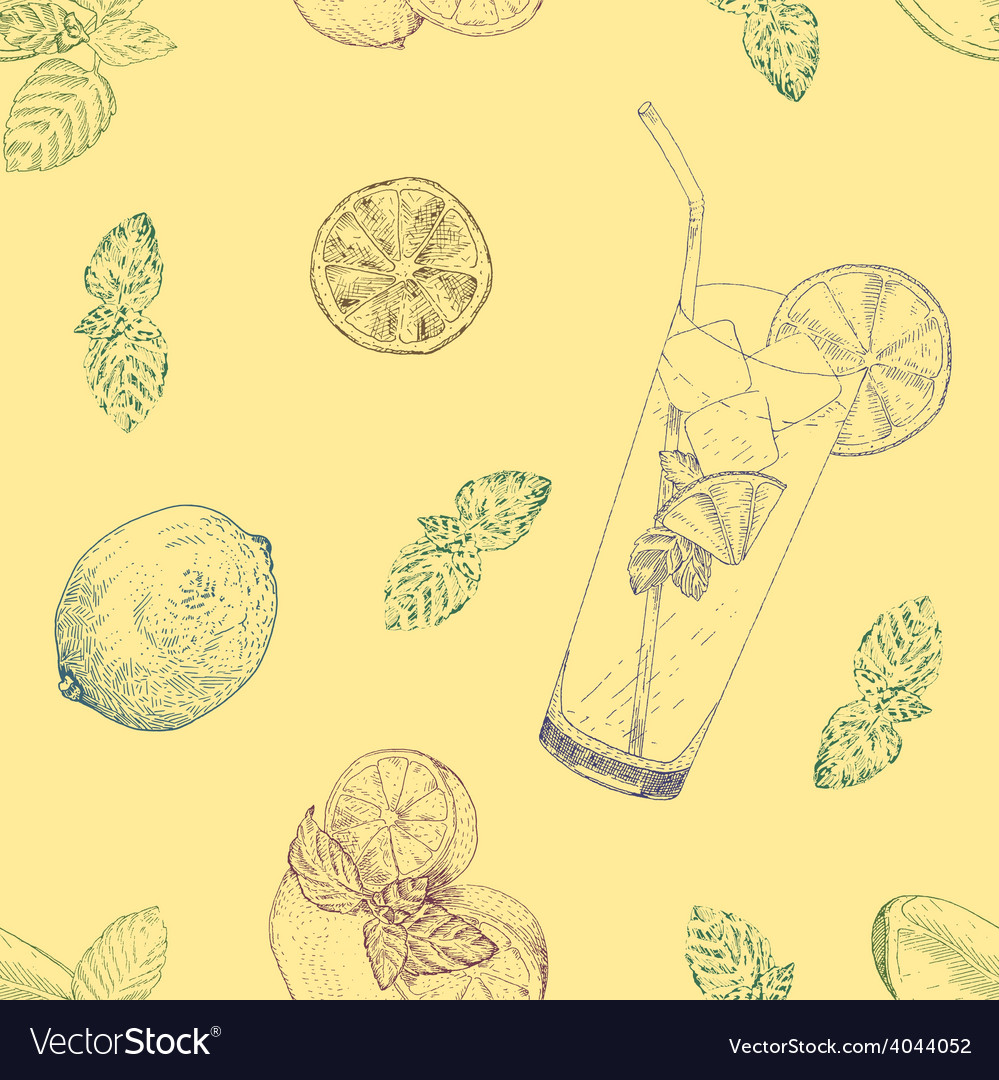 Lime and mint lemonade seamless pattern vector | Price: 1 Credit (USD $1)