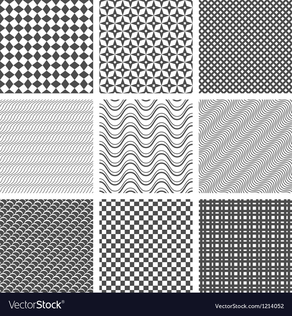 Monochrome seamless patterns vector | Price: 1 Credit (USD $1)