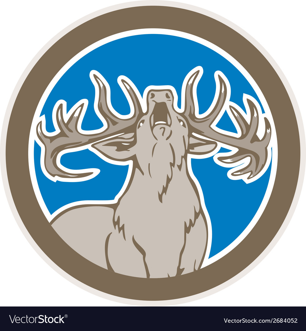 Stag deer roaring circle retro vector | Price: 1 Credit (USD $1)