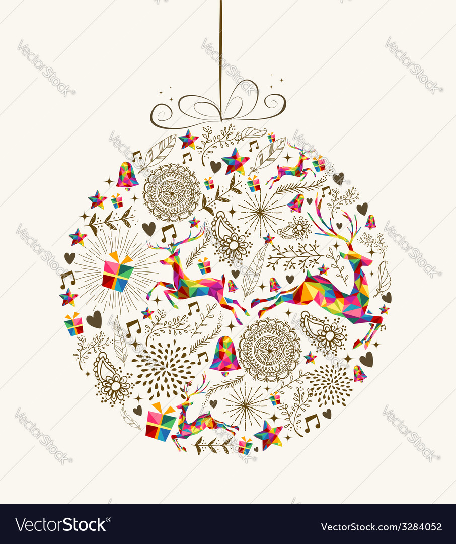 Vintage christmas bauble greeting card vector | Price: 1 Credit (USD $1)