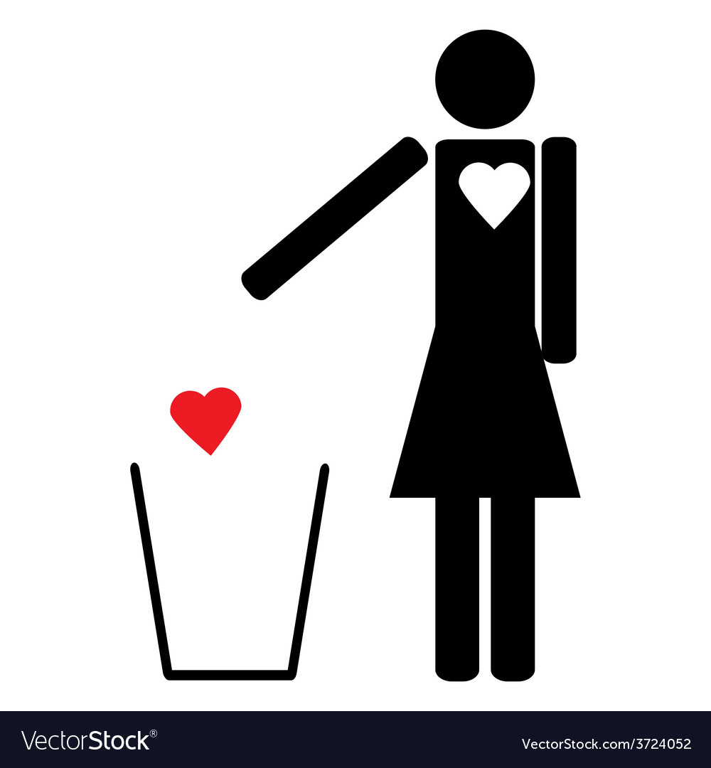 Woman throws the trash to your heart vector | Price: 1 Credit (USD $1)