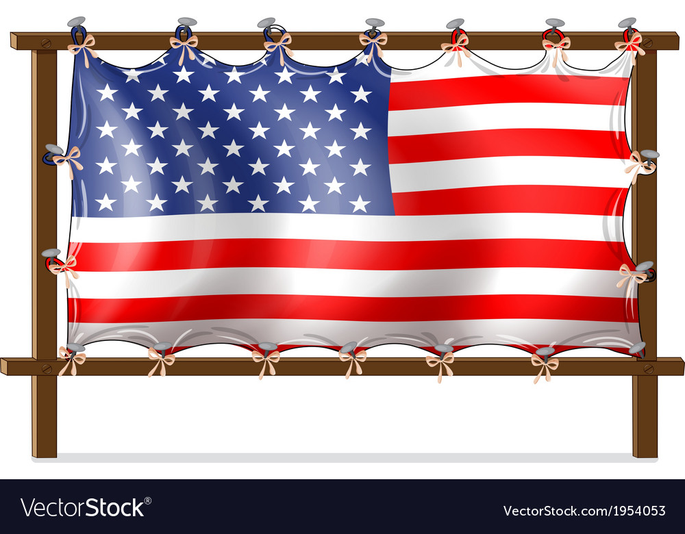 A wooden frame with the american flag vector | Price: 1 Credit (USD $1)