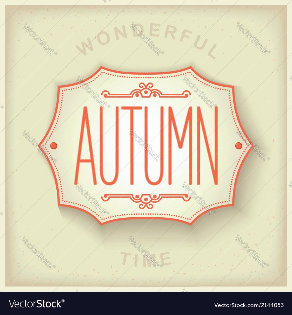 Autumn vintage plate vector | Price: 1 Credit (USD $1)