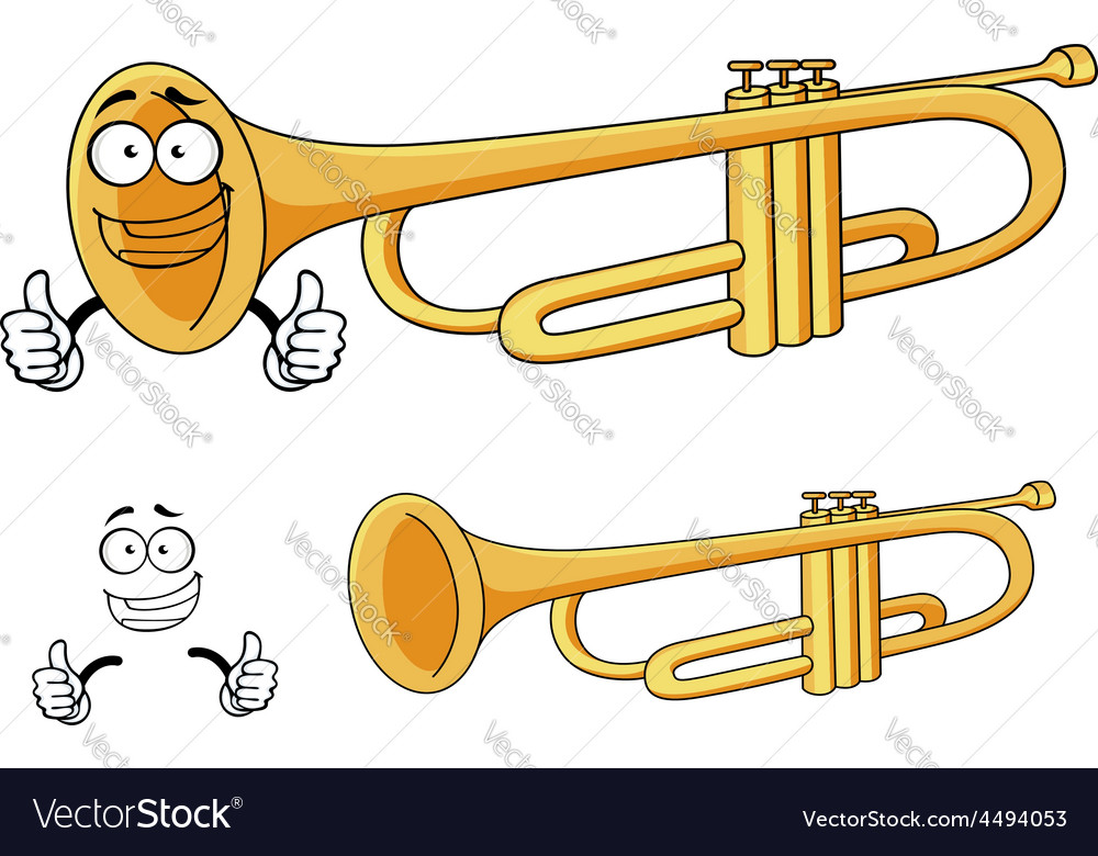 Cartoon happy classic brass trumpet character vector | Price: 1 Credit (USD $1)