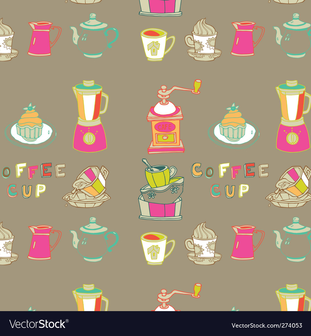 Coffee cup seamless vector | Price: 3 Credit (USD $3)