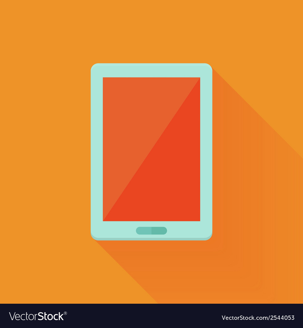 Flat tablet pc icon over orange vector | Price: 1 Credit (USD $1)