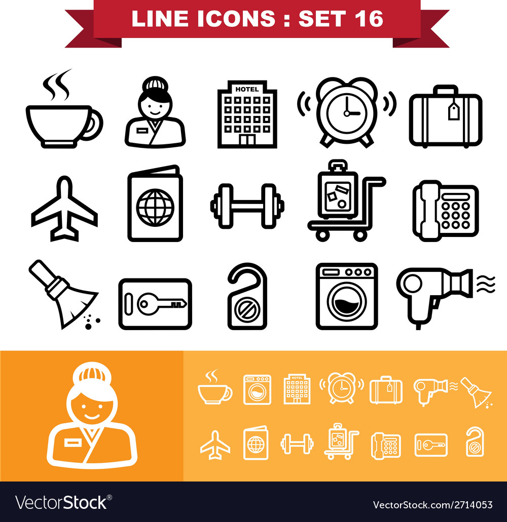 Line icons set 16 vector | Price: 1 Credit (USD $1)