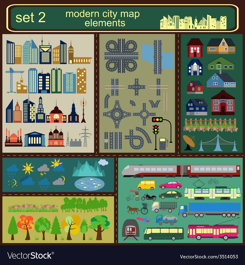 Modern city map elements for generating your own vector | Price: 1 Credit (USD $1)