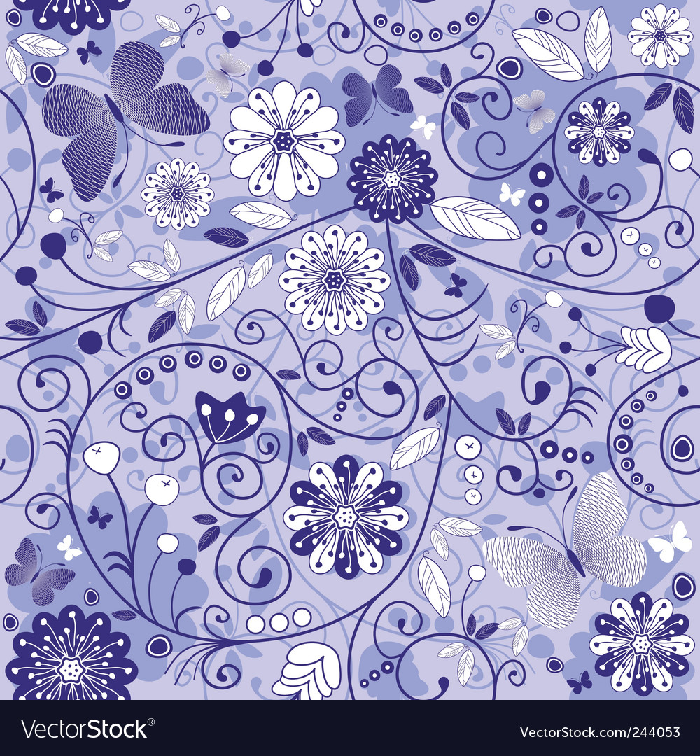 Seamless floral violet blue pattern vector | Price: 1 Credit (USD $1)
