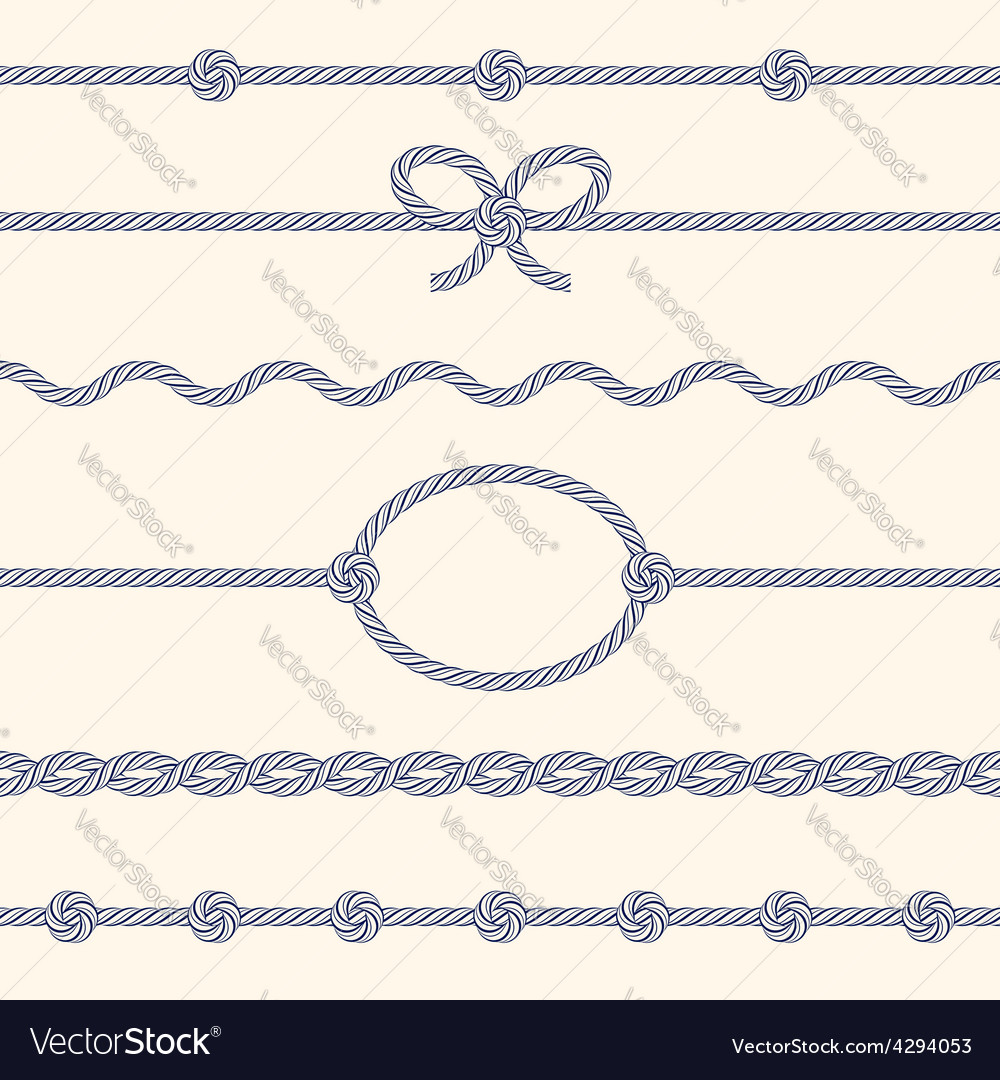 Set of rope borders vector