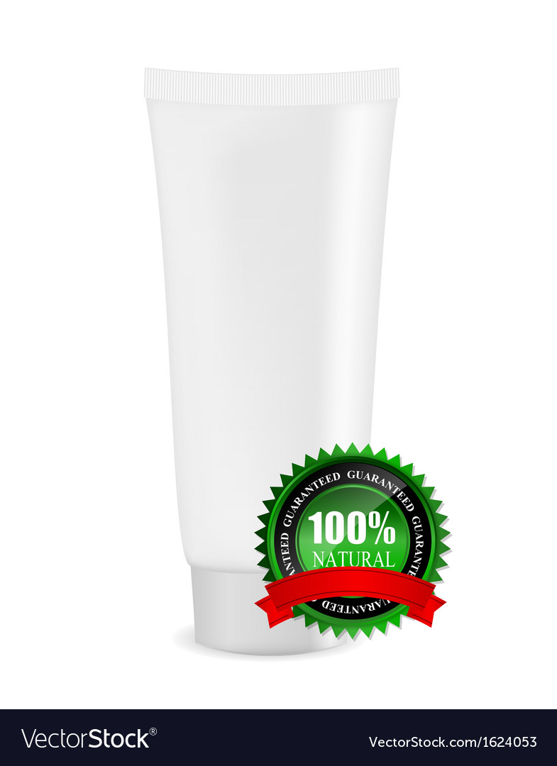White cream tube with natural sign vector   Price: 1 Credit (USD $1)