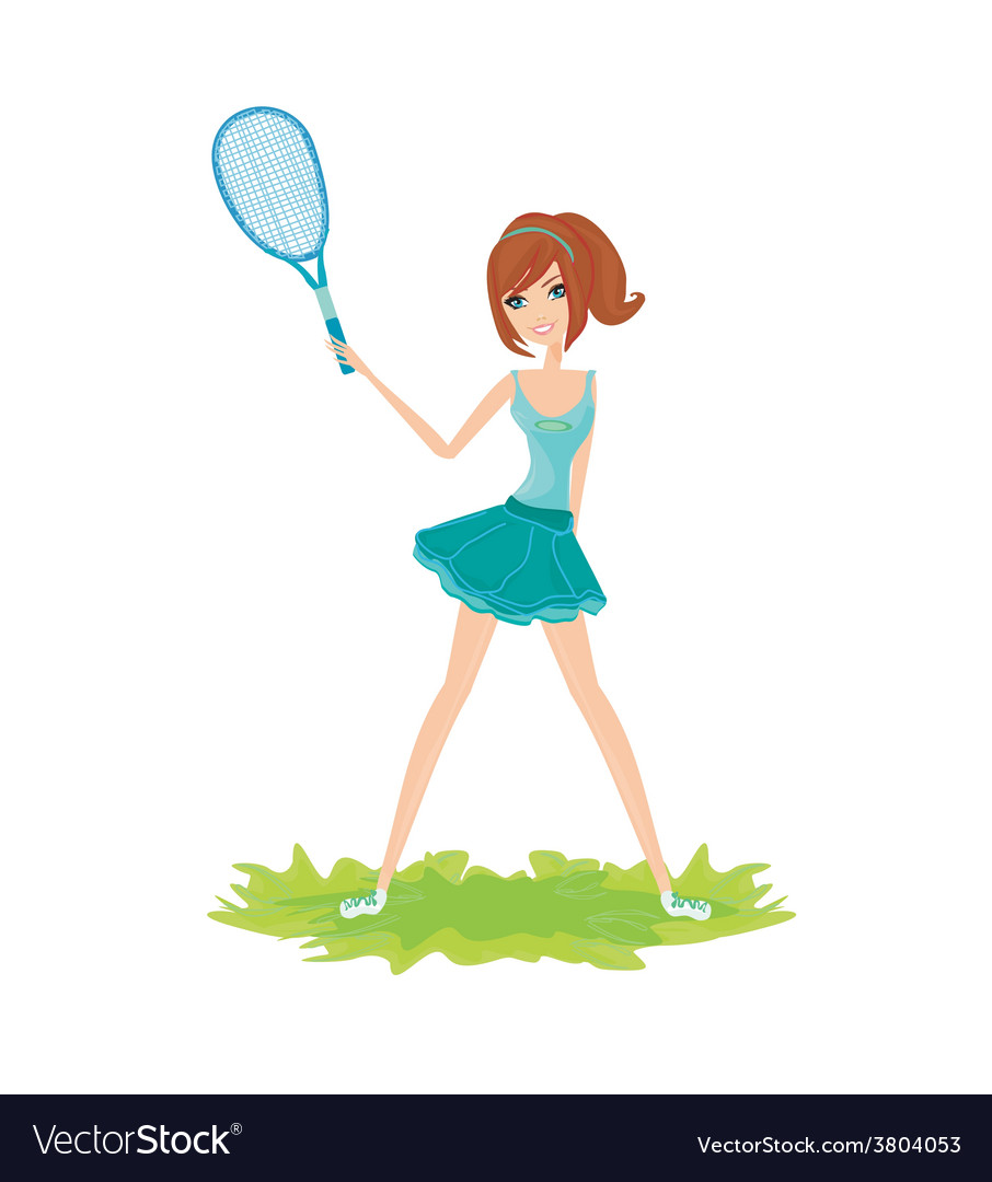Young girl with a tennis racket over white vector   Price: 1 Credit (USD $1)