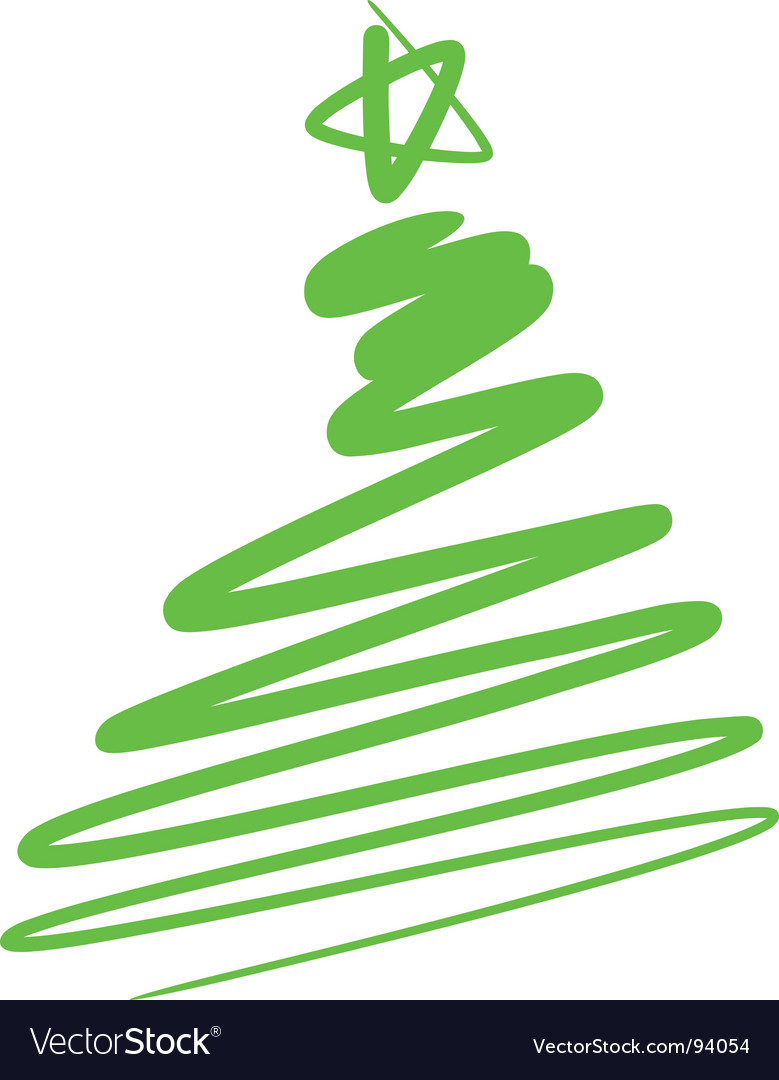 Abstract christmas tree a simple drawing vector | Price: 1 Credit (USD $1)