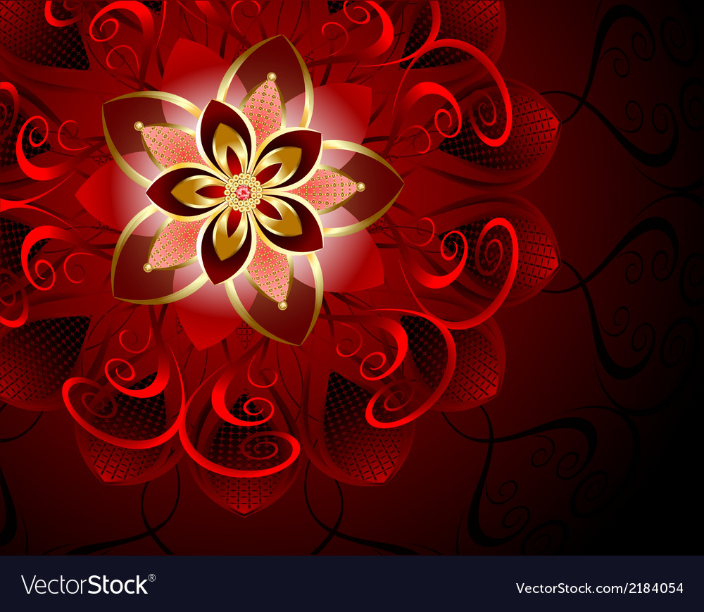 Abstract red flower vector | Price: 1 Credit (USD $1)