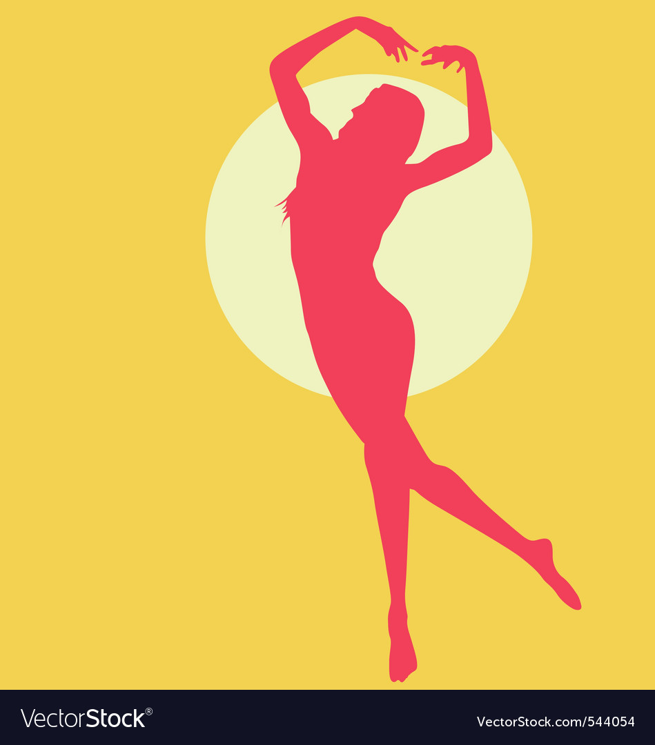 Dancing woman silhouette red on yellow vector | Price: 1 Credit (USD $1)