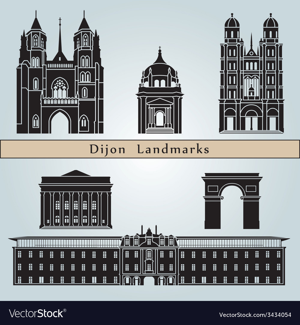Dijon landmarks and monuments vector | Price: 1 Credit (USD $1)