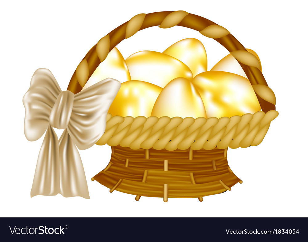 Easter basket with golden eggs vector | Price: 1 Credit (USD $1)