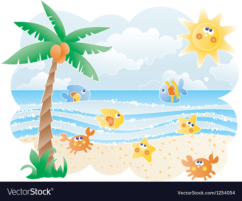 Funny beach vector | Price: 1 Credit (USD $1)