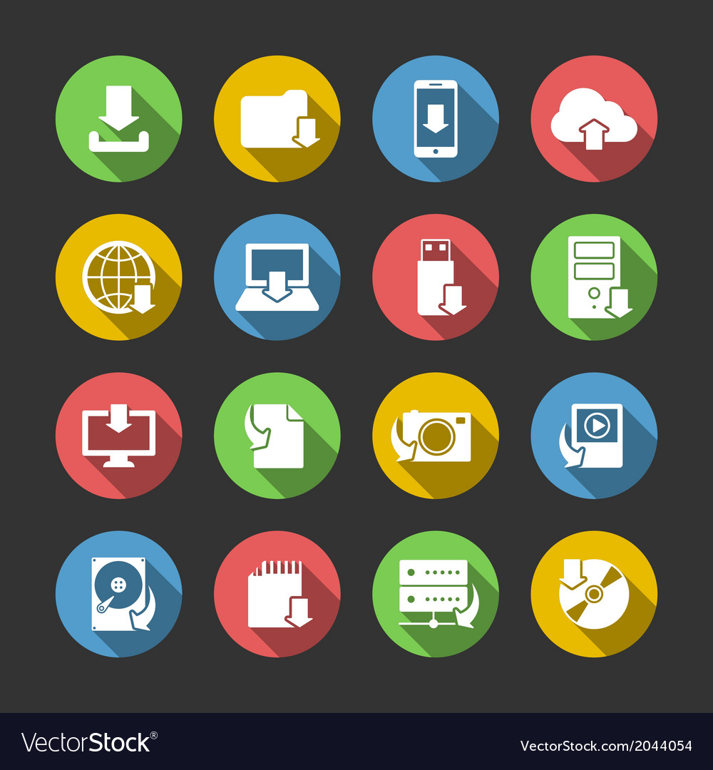 Internet download symbols icons set vector | Price: 1 Credit (USD $1)