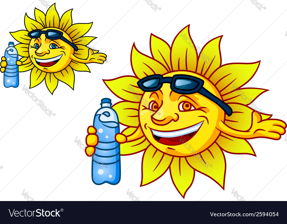Laughing tropical sun with bottled water vector | Price: 1 Credit (USD $1)