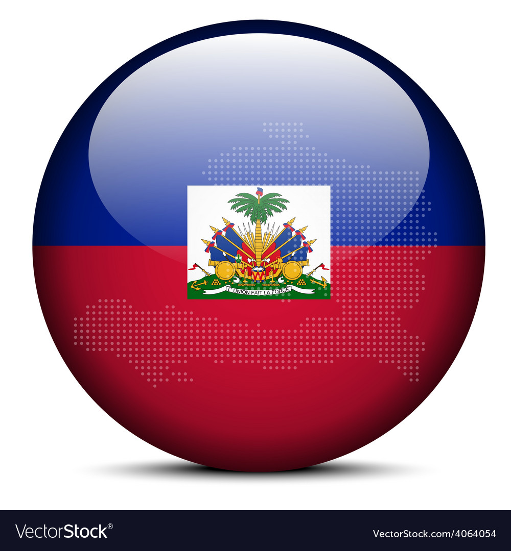 Map on flag button of haiti vector | Price: 1 Credit (USD $1)
