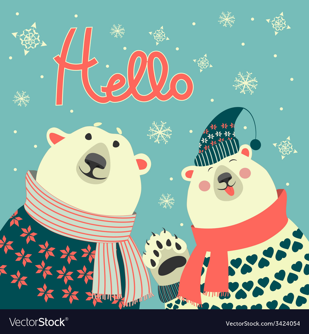 Polar bears say hello vector | Price: 1 Credit (USD $1)