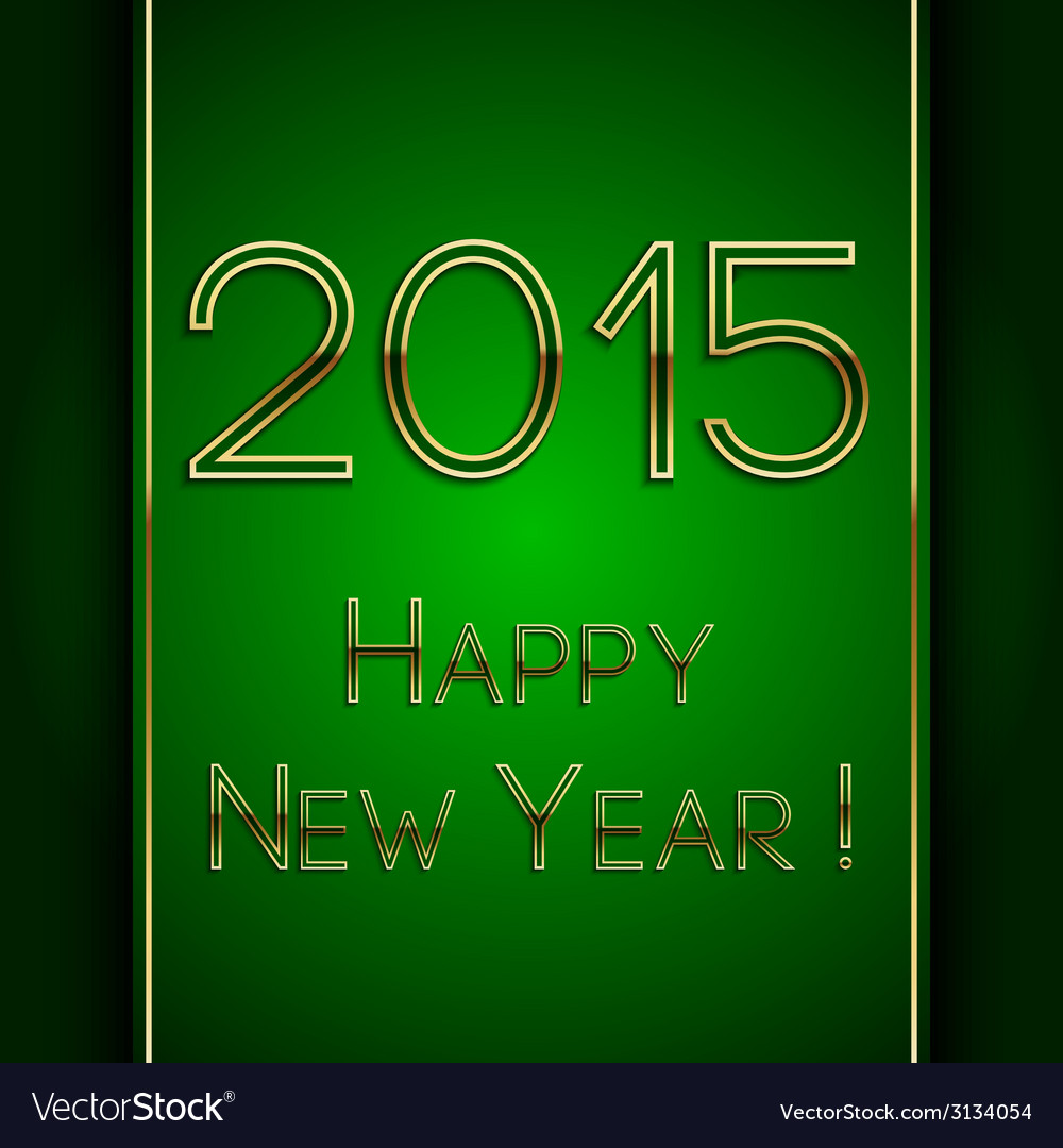 Rectangle green greeting new year 2015 postcard vector | Price: 1 Credit (USD $1)