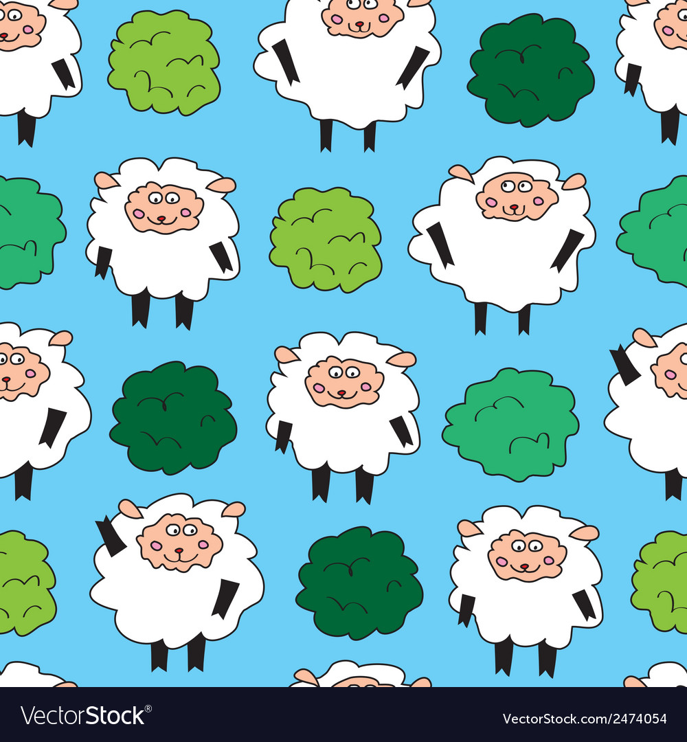 Sheep and shrubs seamless pattern vector | Price: 1 Credit (USD $1)