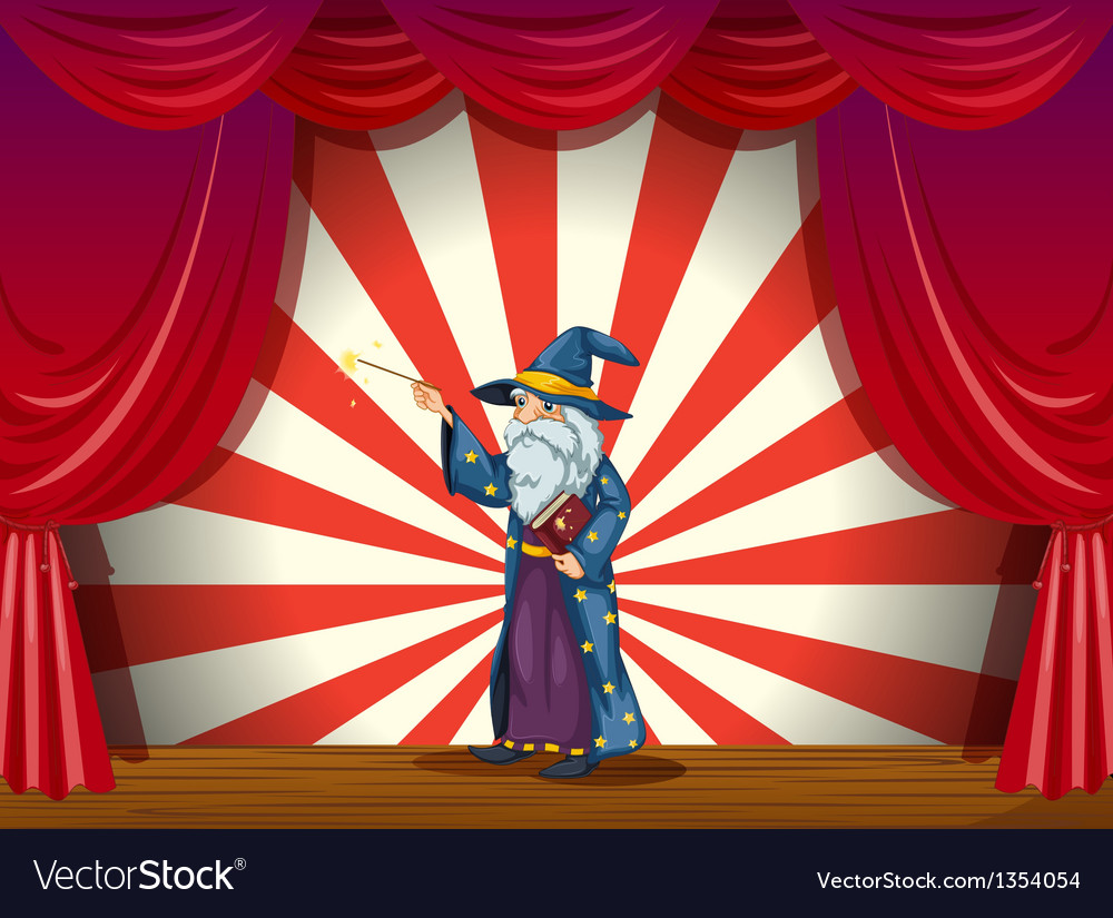 Wizard on stage vector | Price: 1 Credit (USD $1)