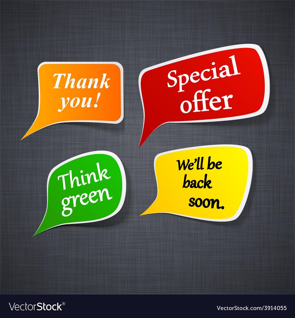 Announcement paper speech labels vector | Price: 1 Credit (USD $1)